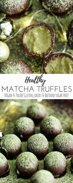 I really love this!  I love that you can eat something yummy and it's full of nourishing ingredients (although still decadent) and also has a lil extra peppy kick with the matcha!  yumm.....Healthy Matcha Truffles are the perfect holiday dessert recipe! They are vegan, paleo, gluten & dairy-free with NO refined sugar but no one would ever guess they're made with good-for-you ingredients! #vegan #paleo #glutenfree #dairyfree #christmas #matcha #truffles #recipe #vitamix