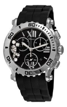 Chopard Women's 288499-3016 R Happy Sport Chronograph Rubber Black Dial Watch -