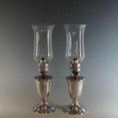 Vintage  Gorham Silverplate Kerosene Oil Hurricane Lamp Lantern Silver Plate