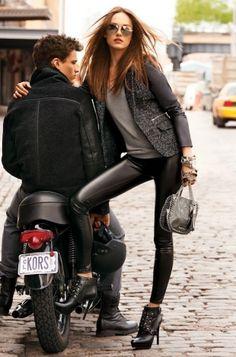 black leather pants, gray top, gray jacket, metallic gray purse