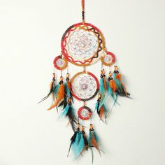 Colourful Traditional Handmade Dream Catcher With Colorful Beads And 5 Rings Home Hanging Decor Dream Catcher Price, Big Dream Catchers, Gypsy Look, Inspire Me Home Decor, Ring Home, Dream Catcher Native American, Iron Ring, Rooms Home Decor, Living Room Decor