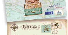 Post card προσκλητήριο για αγόρι με θέμα ταξίδι