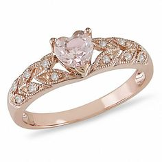 but rose gold is beautiful! Heart-Shaped Morganite Ring in Rose Gold with Diamond Accents - Peoples Jewellers Gold Jewelry, Jewelry Rings, Heart Jewelry, Peoples Jewellers, Do It Yourself Fashion, Black Hills Gold, White Gold, Ring Verlobung, Beautiful Rings