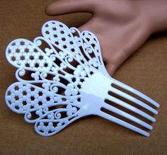 Spanish mantilla hair comb white celluloid hair by ElrondsEmporium