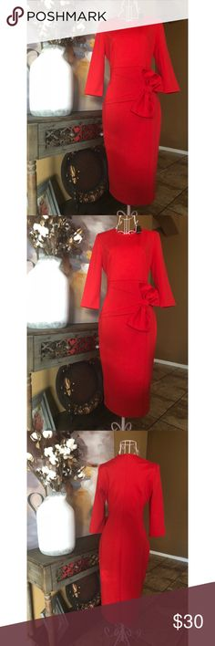 Woman's elegant dress Woman's elegant, classy red dress with a beautiful bow. Unique confident woman dress. Make an impression for sure! Dresses