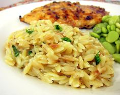 Parmesan Basil Orzo | An easy side to go with chicken! I always sneak some veggies into it!