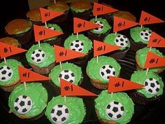 Soccer cakes with toothpick flags