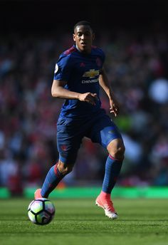 Anthony Martial of Manchester United in action during the Premier League match between Arsenal and Manchester United at Emirates Stadium on May 7, 2017 in London, England.