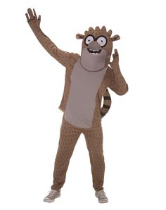 Regular Show Rigby Adult Costume exclusively at Spirit Halloween - You'll find that there's nothing ordinary about this officially licensed Regular Show Rigby Adult Costume. Bring Mordecai and Skips along with you on Halloween when you wear the brown character hood with see-through mask, shirt with attached tail and matching pants. Get yours for $49.99.
