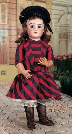 """Pretty French Bisque Bebe Steiner,Figure A,in Antique Sailor Costume 18"""" (46 cm.)"""