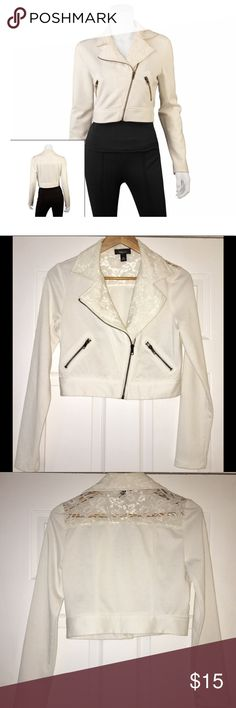 White California Lace Moto Jacket w/ Zipper Hello 👋🏼 This is a white California lace moto jacket with zipper. It's been gently used but in good condition. Size Medium. Please review all photos and ask any questions prior to purchasing.  Thank you for visiting my closet! 💝😊 Iz Byer Jackets & Coats