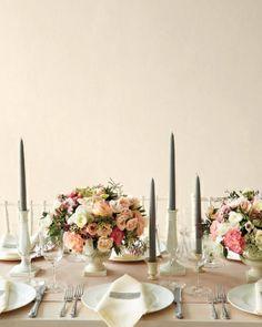Timeless Centerpiece - pedestal flower arrangement with taper candles for height