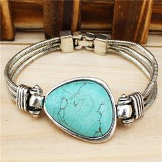 Vintage Look Tibet Alloy Antique Silver Plated Exotic Bead Cuff Turquoise Bracelet B209