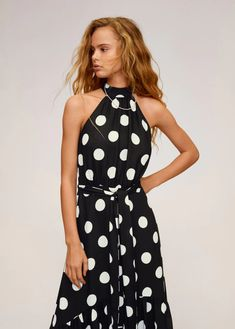 Here are the 28 best cheap spring dresses that look expensive. Mango Outlet, Evening Outfits, Evening Dresses, Polka Dot Long Dresses, Mango Clothing, Closet Collection, Mango France, Affordable Dresses, Online Dress Shopping