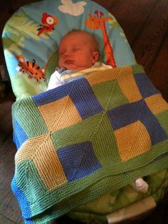 Free Pattern: Cousins' Mitre Square Baby Blanket by Emily Pain