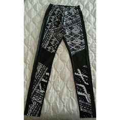Leather back leggings Leather back leggings with tribal print front and leather knee patches. Never worn. Has a tiny little hole as seen on 3rd pic not noticeable when wearing. Other than that in great conditions. *listed as Zara for exposure* Zara Pants