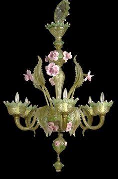 Lustre Murano, vert et rose, milieu du XXe s.