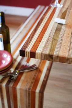Scrap Wood Table and Bench Set - Beautiful! Love the colours and textures.