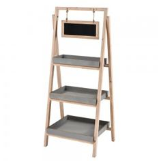 6Tier Tapered Wood Shelf with Chalkboard Wood shelves