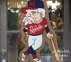 Colonel Rebel Baseball Burlap Door Hanger Ole Miss Rebels, All Sale, Door Hangers, Wood Projects, Burlap, Handmade Items, Hand Painted, Shapes, Doors