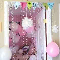 Love this birthday ballon decoration Best Friend Birthday Surprise, Birthday Morning Surprise, Best Birthday Surprises, Birthday Diy, Birthday Presents, Girl Birthday, Birthday Parties, Birthday Ideas, 15th Birthday