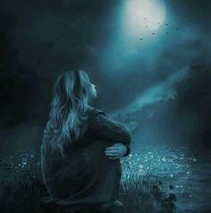 moon in dark fantasy Moon Lovers, Lovers Art, Over The Moon, Stars And Moon, Fantasy Kunst, Fantasy Art, Belle Tof, Moon Shadow, Good Night Moon