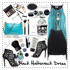 """""""Black Halterneck Dress"""" by dorothy-moore ❤ liked on Polyvore featuring Glamorous, Chanel, MICHAEL Michael Kors, Cirque Colors, Glitzy Rocks, Borghese, New Look, NARS Cosmetics, Terre Mère and Lancôme"""