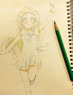 ✮ ANIME ART ✮ anime girl. . .long hair. . .sailor style dress. . .ribbon. . .knee socks. . .running. . .sketchbook. . .pencil. . .graphite. . .sketch. . .doodle. . .cute. . .kawaii