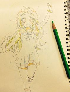 ✮ ANIME ART ✮ anime girl. . .long hair. . .sailor style dress. . .ribbon. . .knee socks. . .running. . .sketchbook. . .pencil. . .graphite. . .sketch. . .doodle. . .cute. . .kawaii
