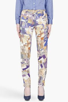 CARVEN purple and gold Printed trousers