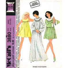1970s Yoked Babydoll Nightie or Long Nightgown Pattern McCalls 3880 Womens Size 8 10 UNCUT