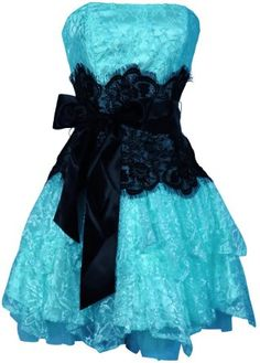 Strapless Bustier Contrast Lace and Crinoline Ruffle Prom Mini Dress Junior  Plus Size  Amazon. Prom Dresses BluePretty ... d1a670f83c56