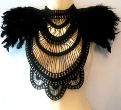 Steampunk jewelry black textile statement collar corset top with double layer feather epaulettes epaulets.