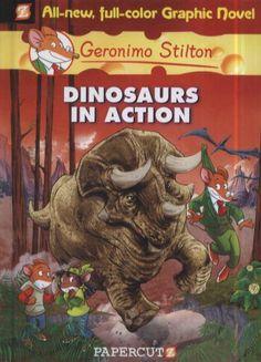 Op naar de prehistorie! / [tekst:] Geronimo Stilton ; [vert. uit het Italiaans: Dorette Zwaans ; red. coördinatie: Patrizia Puricelli ; eindred.: Daniela Finistauri ; scenario: Andrea Denegri ; tek.: Giuseppe Ferrario ; inkleuring: Giulia Zaffaroni]. This popular book is a translation of 'Dinosaurs in action!' It is available through your local public library. http://library.sl.nsw.gov.au/record=b3797590~S2