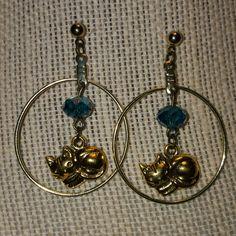 Cat hoop earrings with birthstone bead.