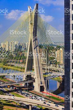 Photo of the 453 feet tall concrete mast the supports the Octavio. Free Stock, My Photos, Stock Photos, Suspension Bridge, Brooklyn Bridge, Vivid Colors, Brazil, Concrete, Beach