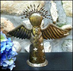 "Christmas Candle Holder in Metal - Angel Design - 7 1/2"" x 10 1/2"".   -  See more hand hammered Haitian metal art designs at www.HaitiMetalArt.com"