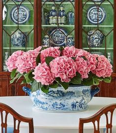 You can never go wrong with pink--or hydrangeas!