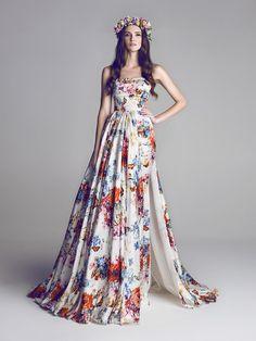 I'm all for Floral bridesmaid dresses. Floral Wedding Dresses You Can Shop Now via Brit + Co.