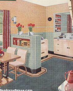 Peach and green 1940s mid century kitchen and breakfast nook