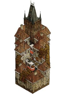 Isometric cross-sections and other drawings by Evan Wakelin