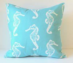 Decorative Pillow Cover - Aqua Blue & White Seahorses - 18 x 18 Accent Cushion  Nautical Nursery Decor Children Dorm Beach Summer Lake House