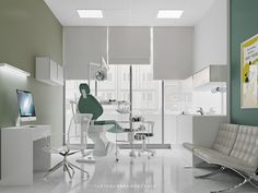 dental clinic, digital art , interior design, minimalist style, visualization