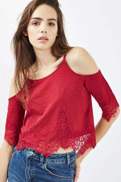 Leave shoulders bare in this cold shoulder style cami top. Finished with a softly draped sleeve, we love the romantic lace detailing to the bodice and sleeves and berry red hue. Shoulder Tops, Red Cami Tops, Germany Fashion, Cold Weather Fashion, Romantic Lace, Outfit Combinations, Fashion Outfits, Fashion Women, Style