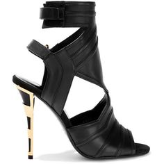 Balmain Kali cutout leather sandals (1.625 BRL) ❤ liked on Polyvore featuring shoes, sandals, balmain, black, high heel shoes, velcro shoes, black sandals, leather high heel sandals and black shoes