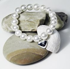 Personalised Stretch Pearl Bracelet with Silver Heart Charm  Valentines Day Gift Ideas