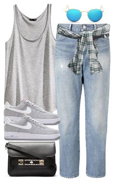"""""""Sin título #1814"""" by hellomissapple ❤ liked on Polyvore featuring H&M, Levi's, Ray-Ban, NIKE and Proenza Schouler"""