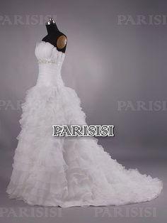 Vestido de fiesta Sin tirantes Tren Capilla Champán vestidos de novia