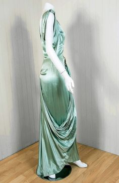 1930's Seafoam Silk-Satin Sequin Draped Grecian Goddess Gown image 4