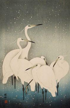 antipahtico:  Egrets in Snow ~Ohara Shoson (Koson) 1927